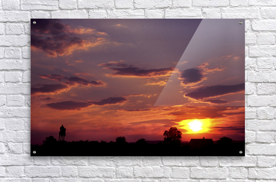 Manasas Battlefields Sunset With Statue Silhouette in left Corner  Acrylic Print