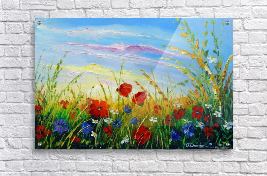 Summer flowers in the oil painting field  Acrylic Print