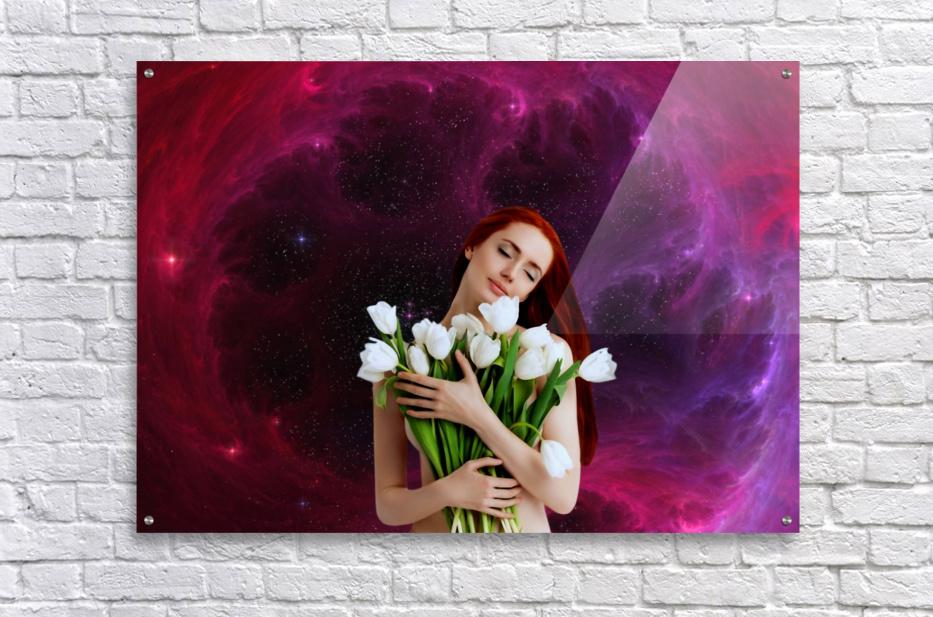 Girl with tulips. Madonna 3  Acrylic Print