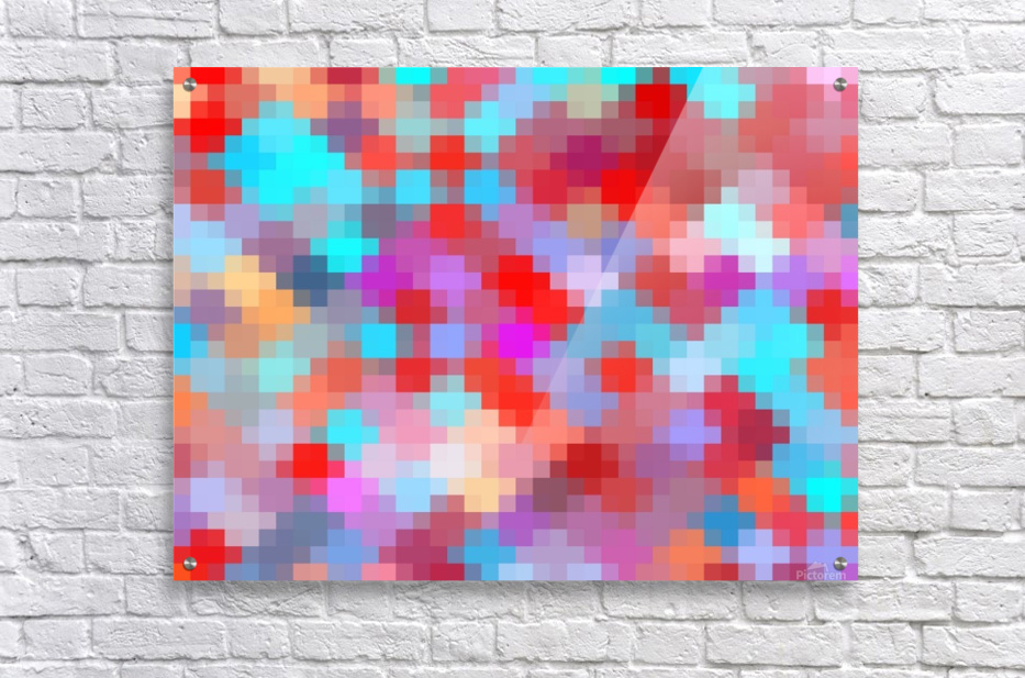 geometric square pixel pattern abstract in pink red blue  Acrylic Print