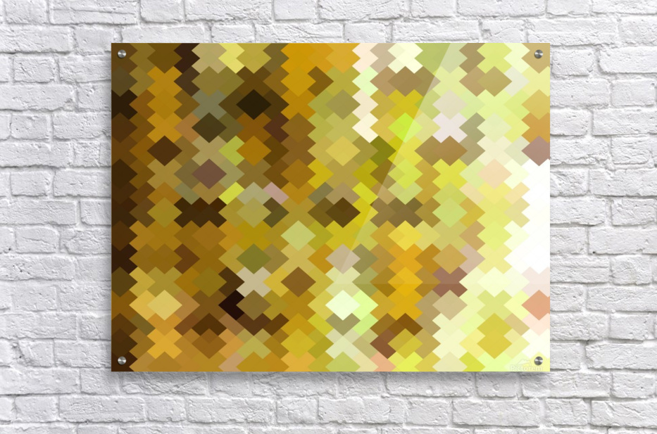 geometric square pixel pattern abstract in yellow and brown  Acrylic Print