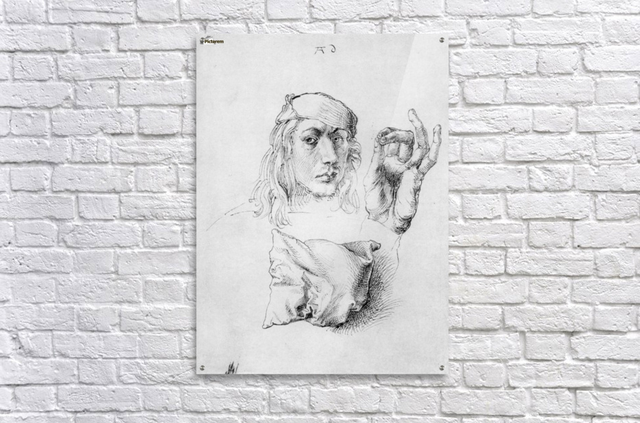Study sheet with self-portrait, hand, and cushions  Acrylic Print