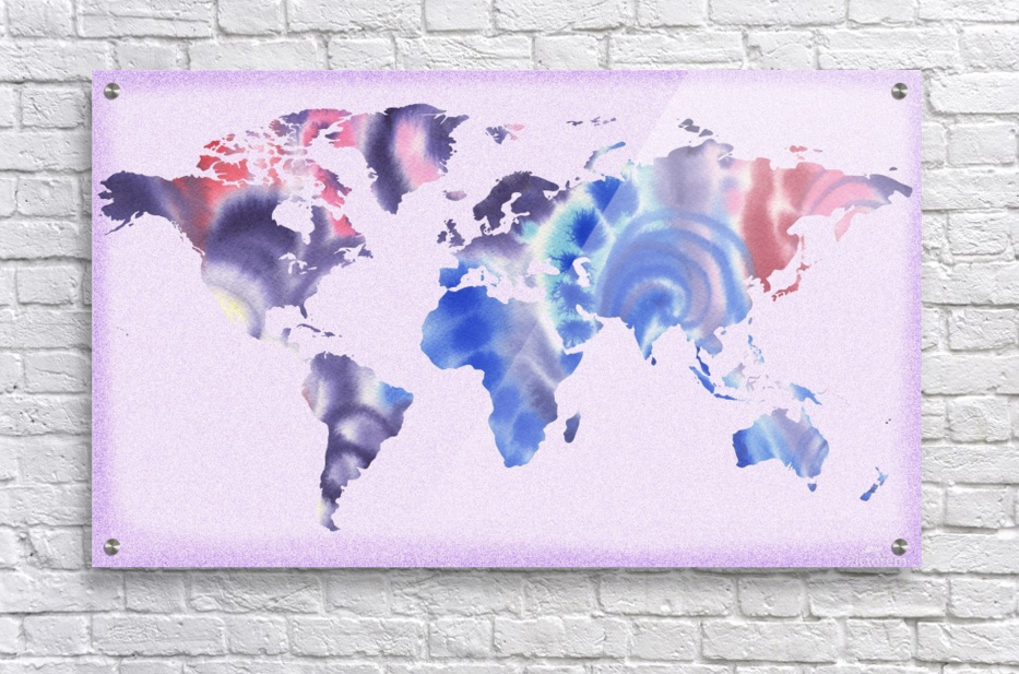 Watercolor Silhouette World Map Lilac Blue And Purple  Acrylic Print