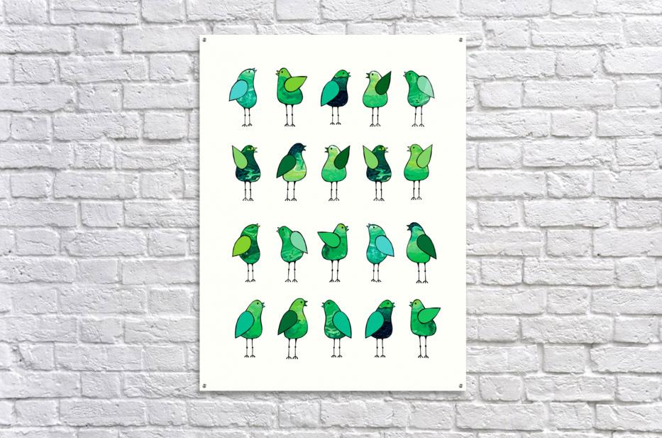 Gossip Birds Green  Acrylic Print