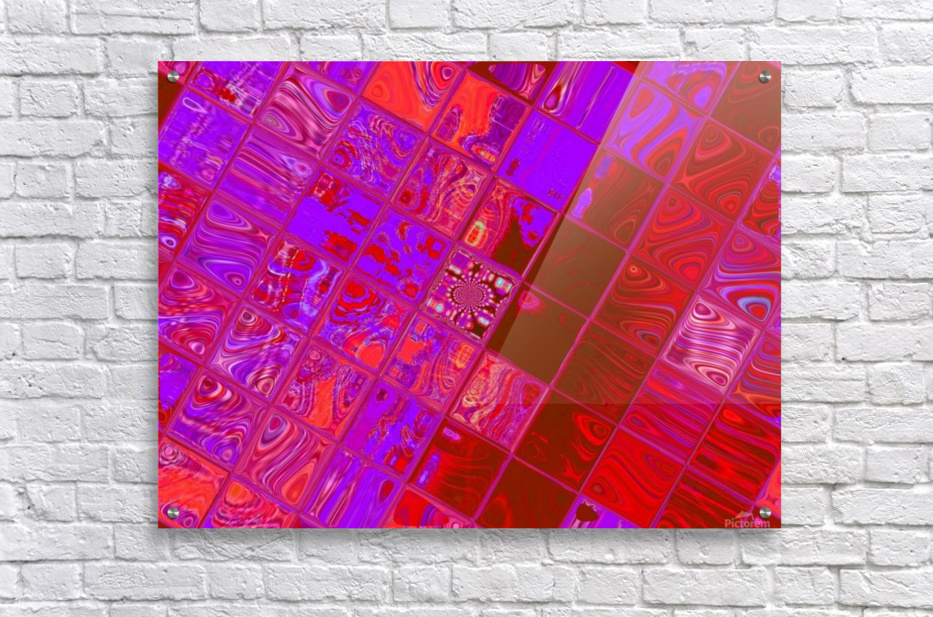 Red Psychedelic Squares 1  Acrylic Print