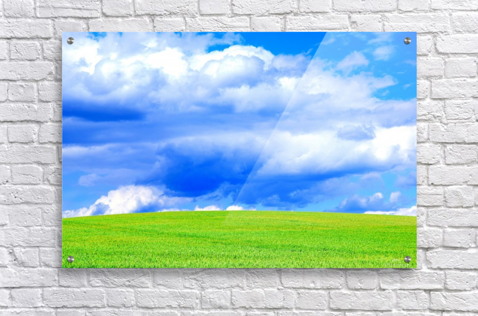 Blue Sky Clouds Field Bright Colorful Scenery Background   Acrylic Print