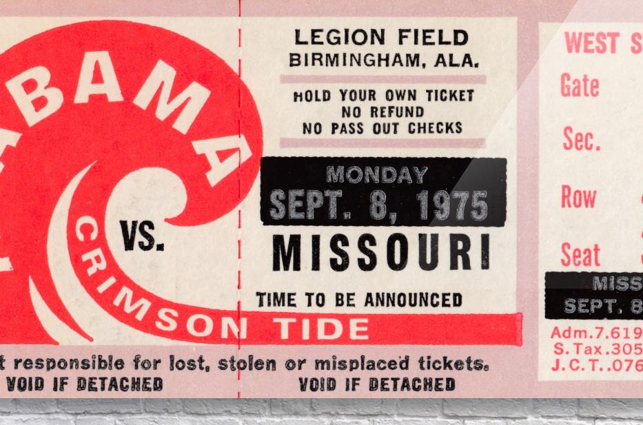 1975 College Football Ticket Collection_Alabama vs. Missouri_College Ticket Stub Art (1)  Acrylic Print