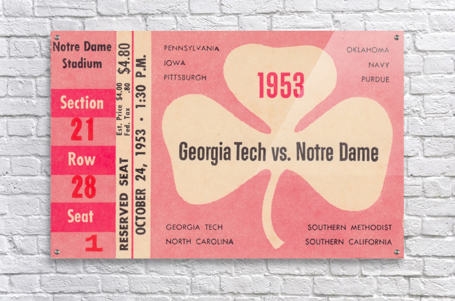 1953_College_Football_Notre Dame vs. Georgia Tech_Notre Dame Stadium_College Ticket Collection Art (1)  Acrylic Print