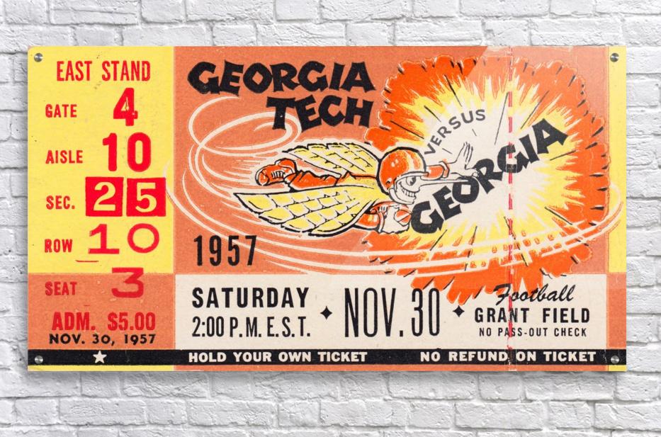 College_FootballArt_GeorgiaTechvs.Georgia_GrantField_TicketStubArt  Acrylic Print