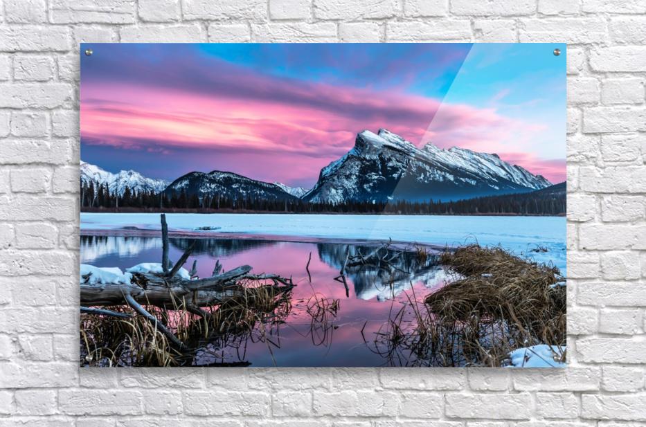 Rundle Mountain Sunset Banff National Park  Acrylic Print