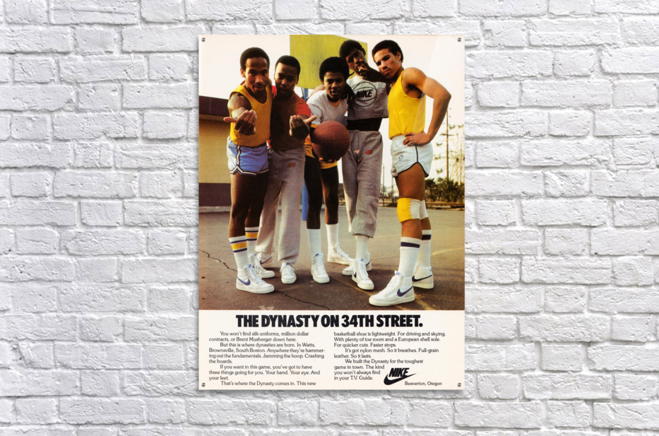 1981 vintage nike shoe ads dynasty on 34th street retro basketball poster  Acrylic Print