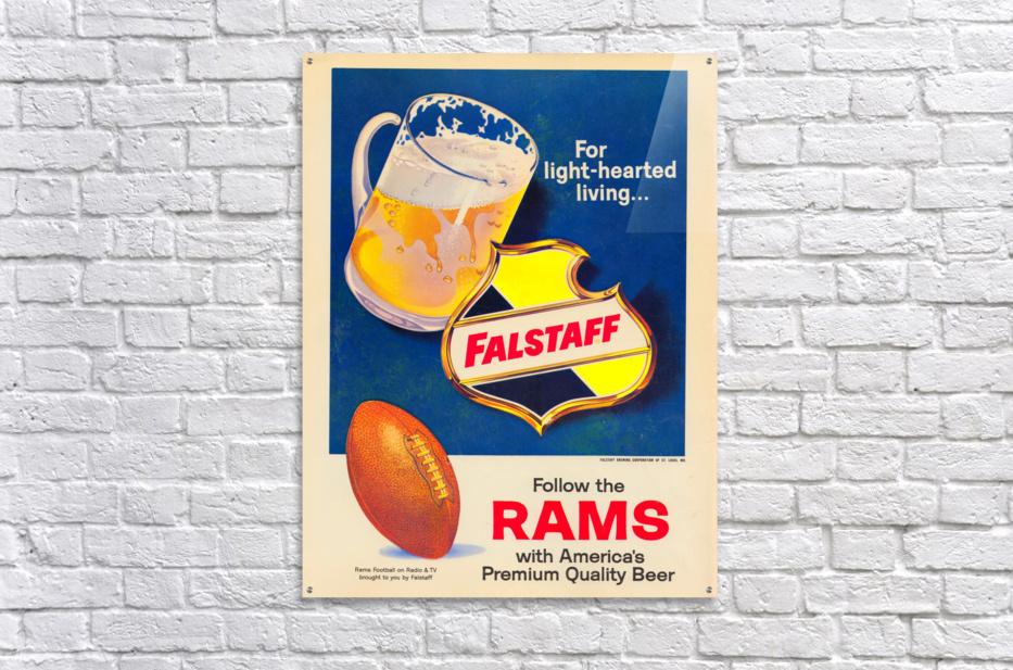 vintage falstaff beer ad poster la rams retro football metal sign  Acrylic Print