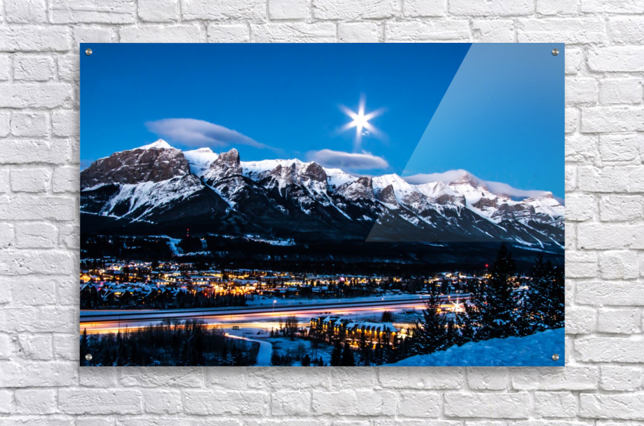 Canmore Morning Moon Over Rundle Mountain  Acrylic Print