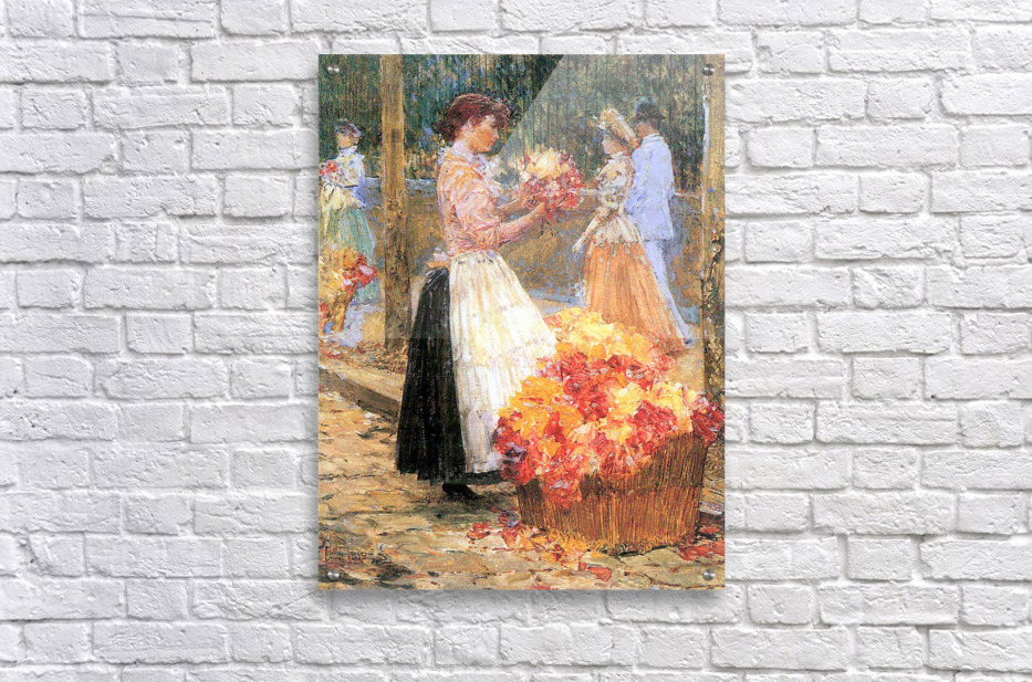 Woman sells flowers by Hassam  Acrylic Print