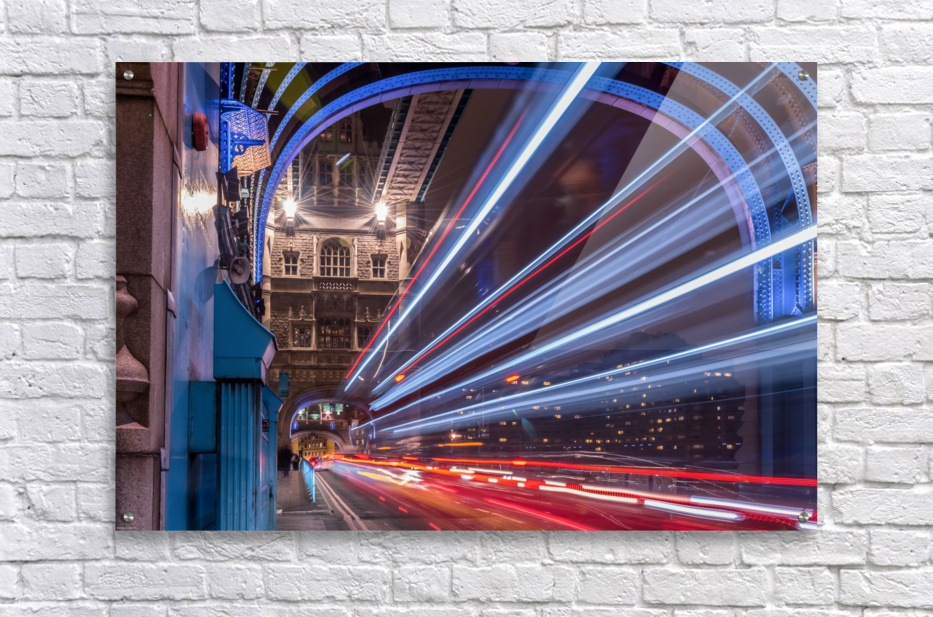 Light trails along Tower Bridge London  Acrylic Print