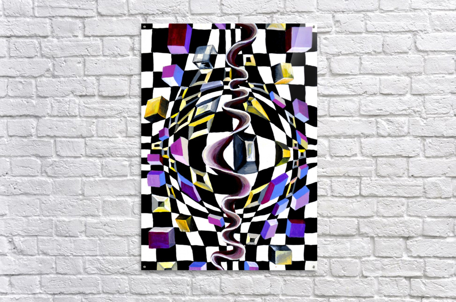 Watercolor Abstract Chess Pattern  Acrylic Print