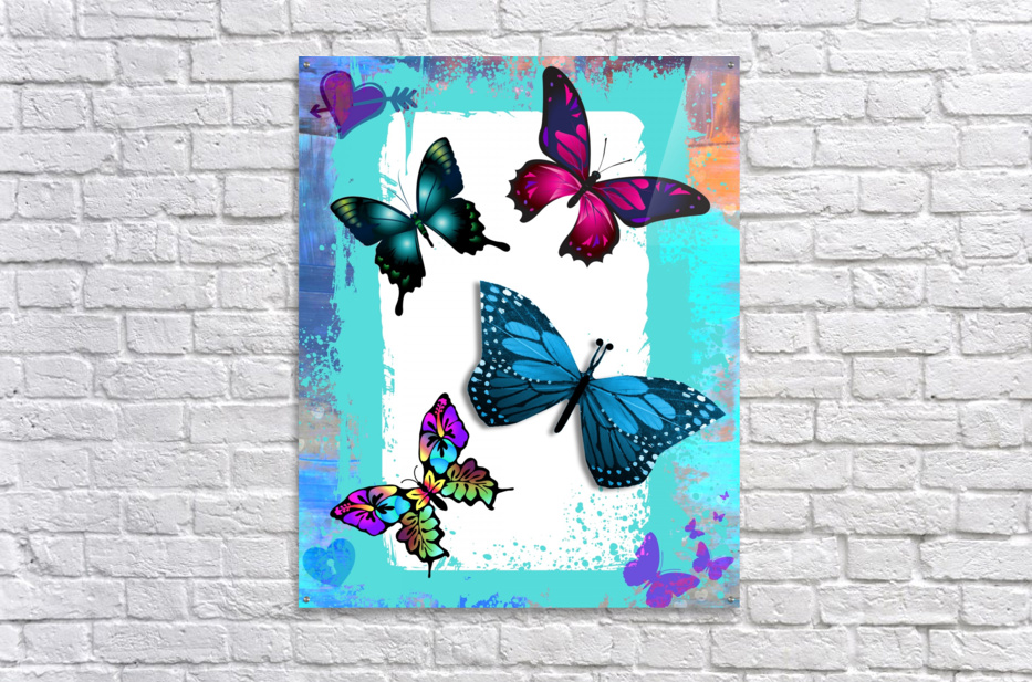 Whimsical Morpho Butterflies in Vivid Colors  Acrylic Print