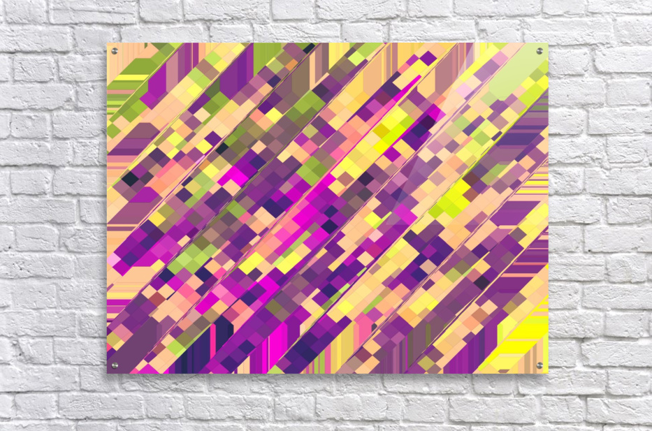 geometric square pixel pattern abstract background in pink purple green  Acrylic Print