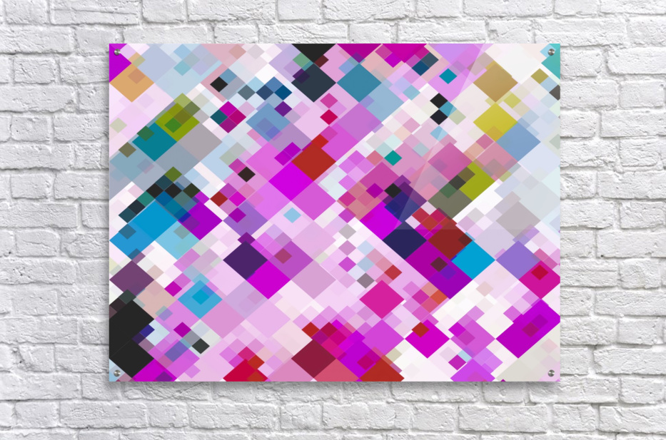 geometric square pixel pattern abstract background in pink blue yellow  Acrylic Print