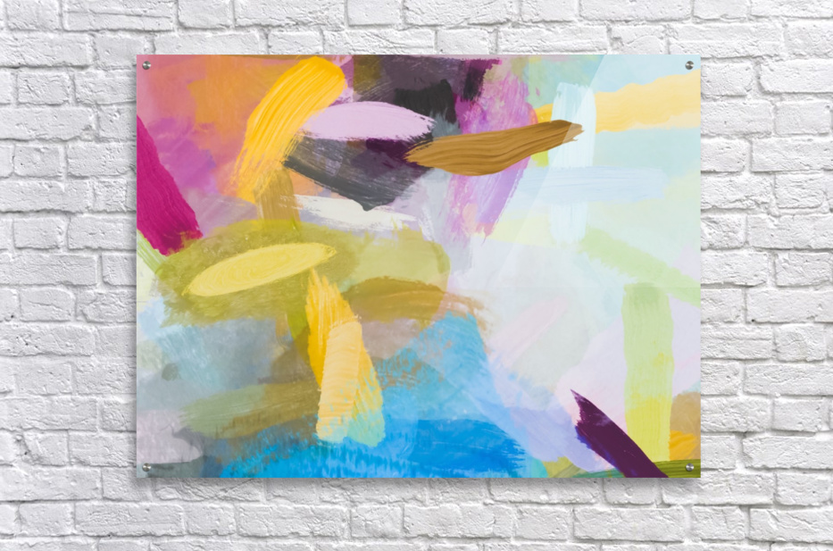 splash painting texture abstract background in yellow blue pink  Acrylic Print