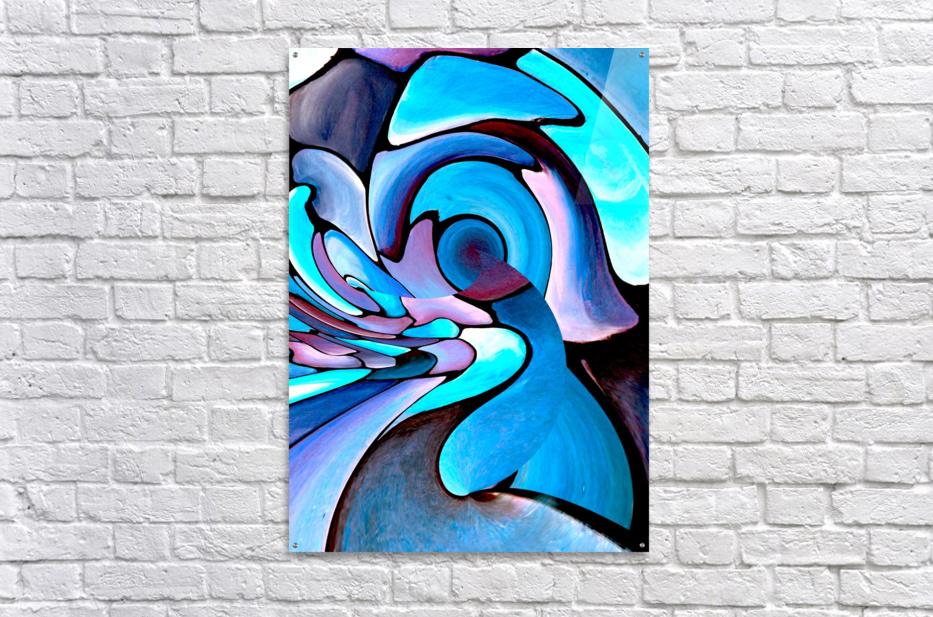 Twisted Splash of Blue Shapes   Acrylic Print