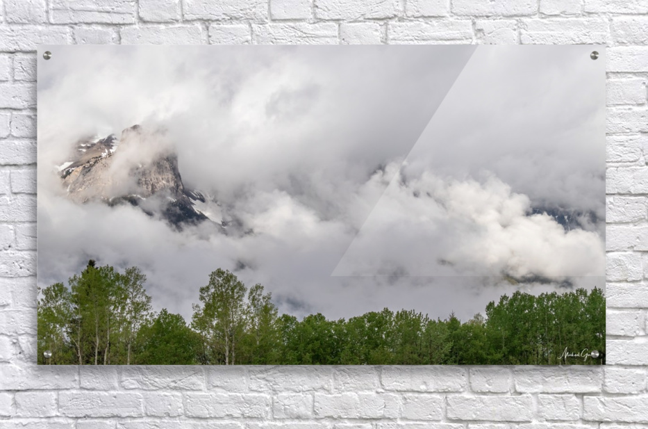 Billowy Clouds Surround Rundle Mountain  Acrylic Print