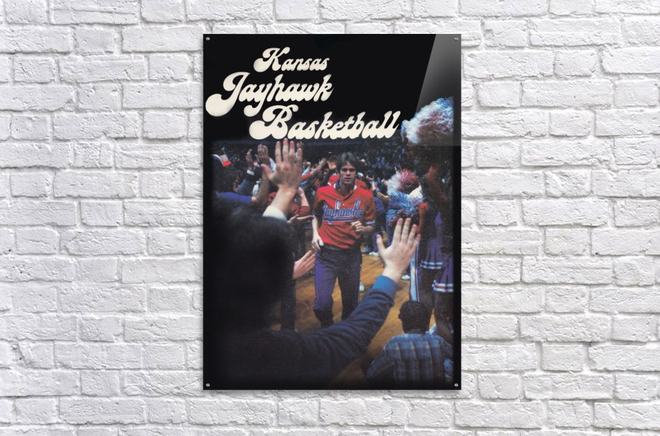 vintage kansas jayhawks basketball poster ku 1982  Acrylic Print