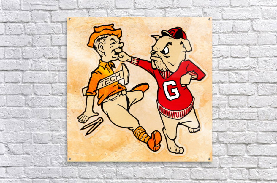 Vintage Georgia Bulldog Punching Tech Engineer College Canvas Print Wood  Acrylic Print