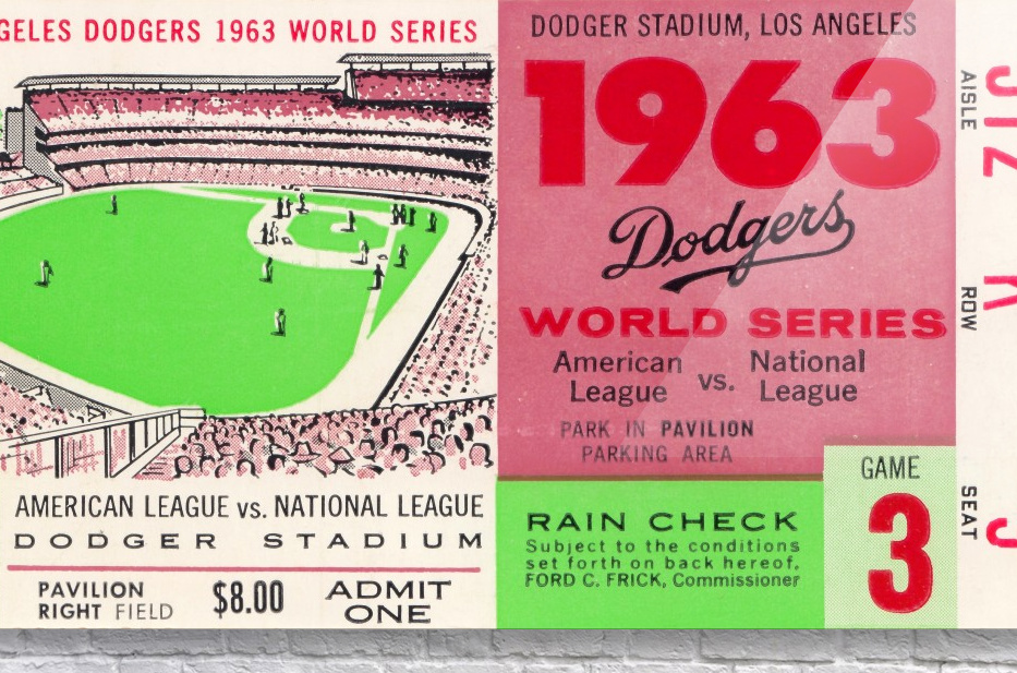1963 world series ticket stub art la dodgers home decor  Acrylic Print