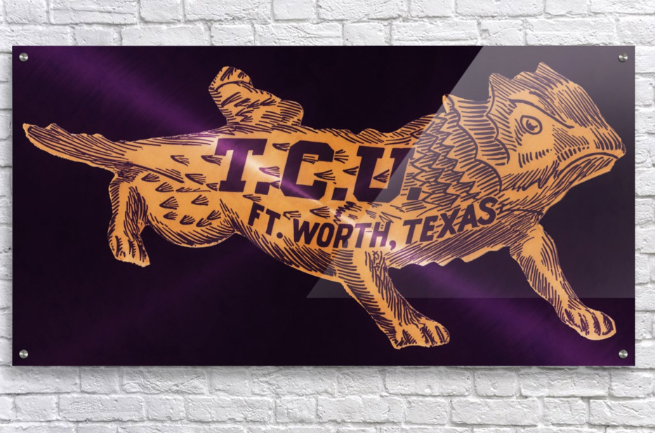 vintage college mascot art tcu horned frogs ft worth texas  Acrylic Print
