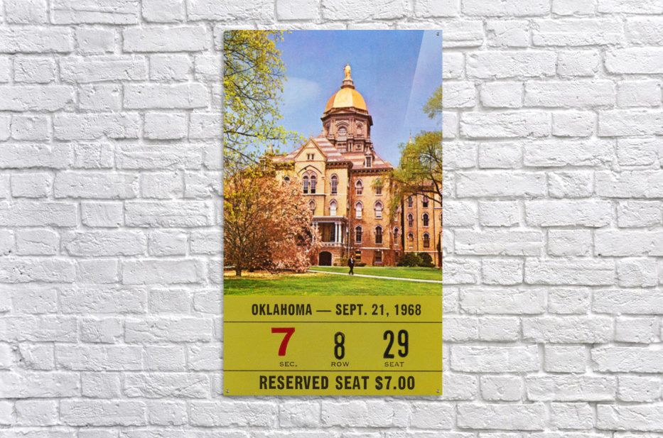 1968 oklahoma sooners notre dame college football south bend indiana sports tickets wall art  Acrylic Print