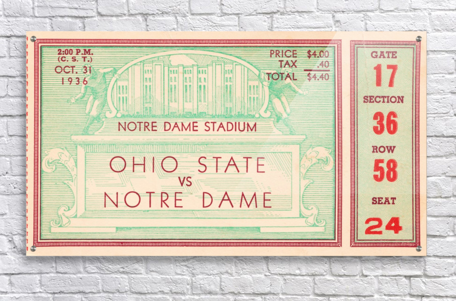 1936 notre dame ohio state football ticket stub sports art  Acrylic Print