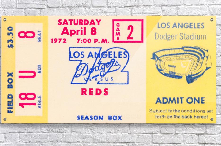1972 la dodgers field level box baseball ticket stub canvas art  Acrylic Print