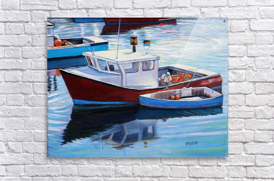 Tying Up Dinghy in Rockport MS  Acrylic Print