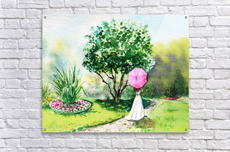 Girl With Pink Umbrella  Acrylic Print
