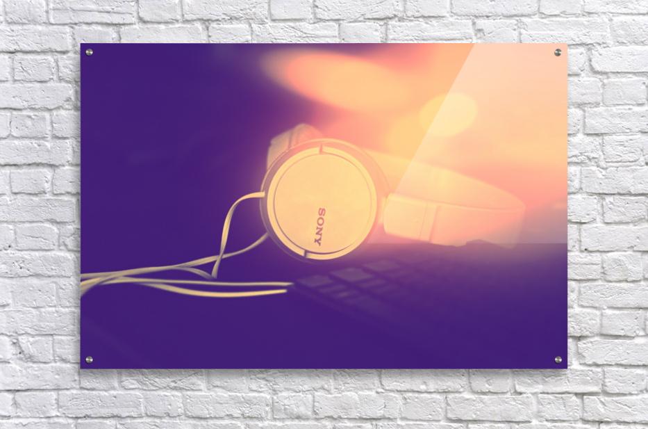 Sony Headphones by a Keyboard  Acrylic Print