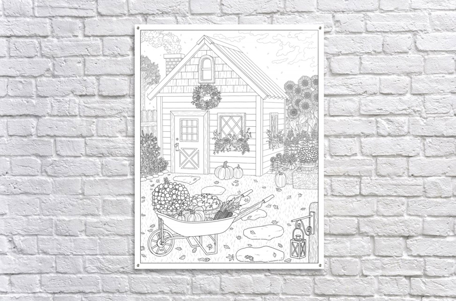 Autumn Cottage Coloring Page  Acrylic Print