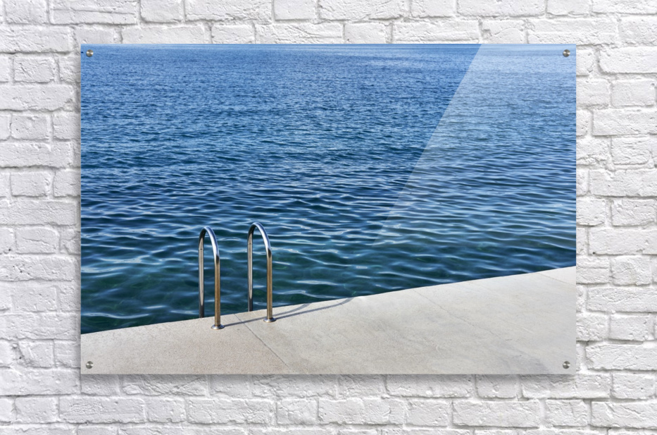 Pool ladder on the shore of the slovenian adriatic coast Piran Slovenia  Acrylic Print