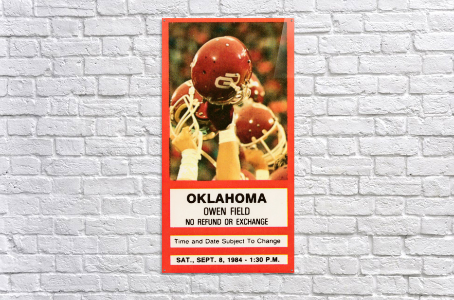1984 Oklahoma Sooners Football Ticket Wall Art  Acrylic Print