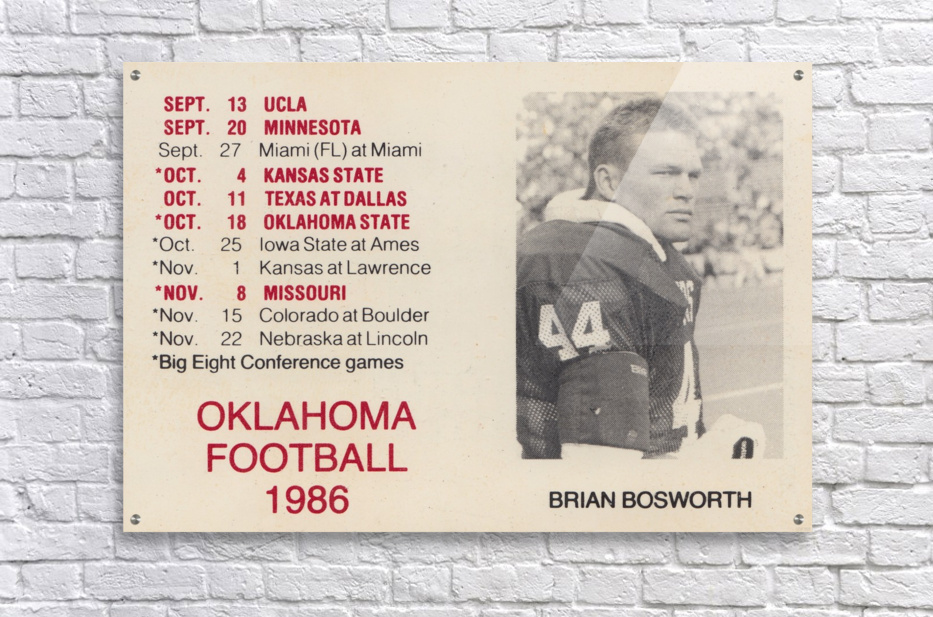 1986 Oklahoma Football Brian Bosworth  Acrylic Print