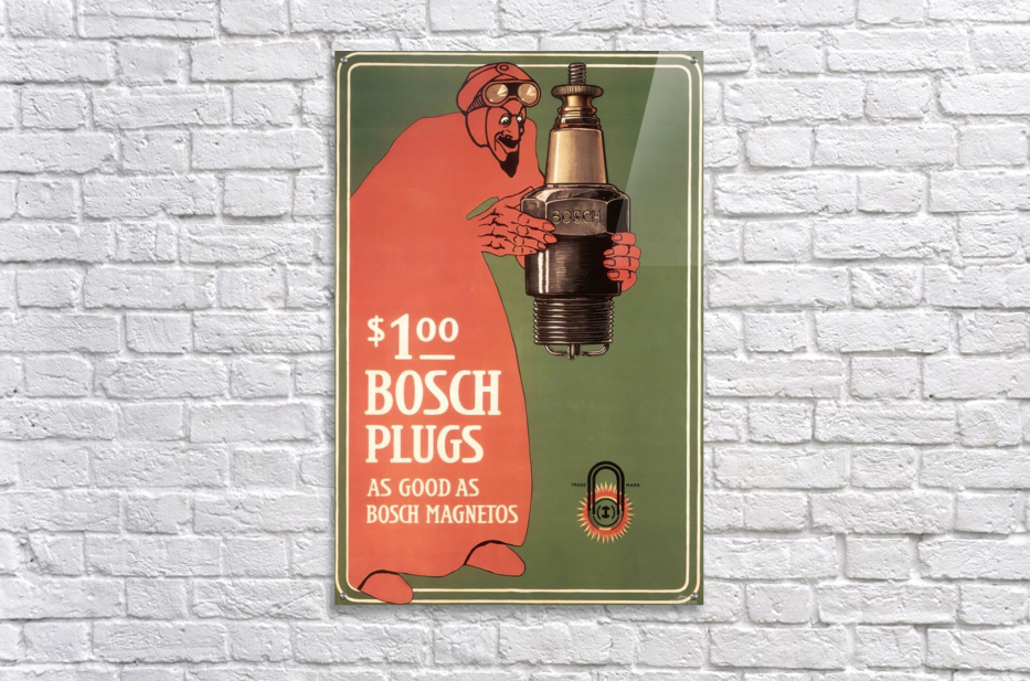 Vintage Bosch Spark Plugs Advertising Poster  Acrylic Print