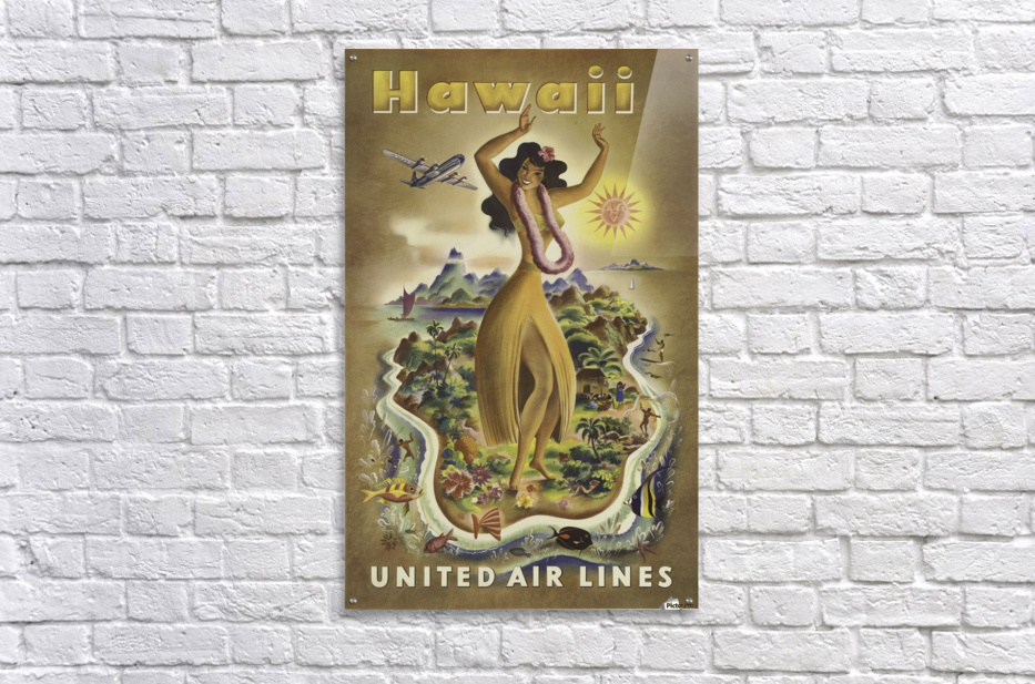United Air Lines Hawaii Classic Travel Poster  Acrylic Print