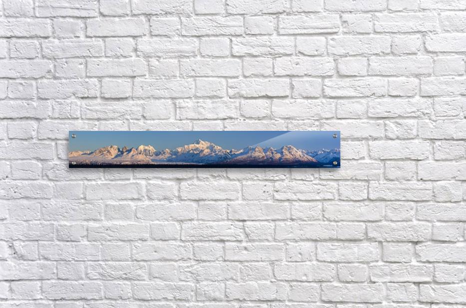 Panoramic view of sunrise over Denali and the Alaska Range, Denali State Park, Southcentral Alaska, Winter  Acrylic Print