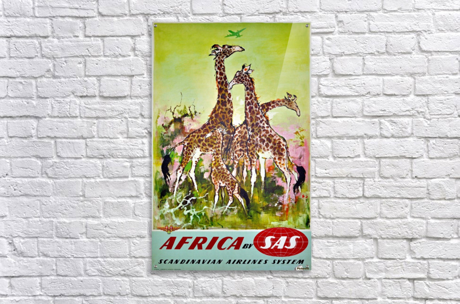 Scandinavian Airlines Africa by SAS original advertising poster  Acrylic Print