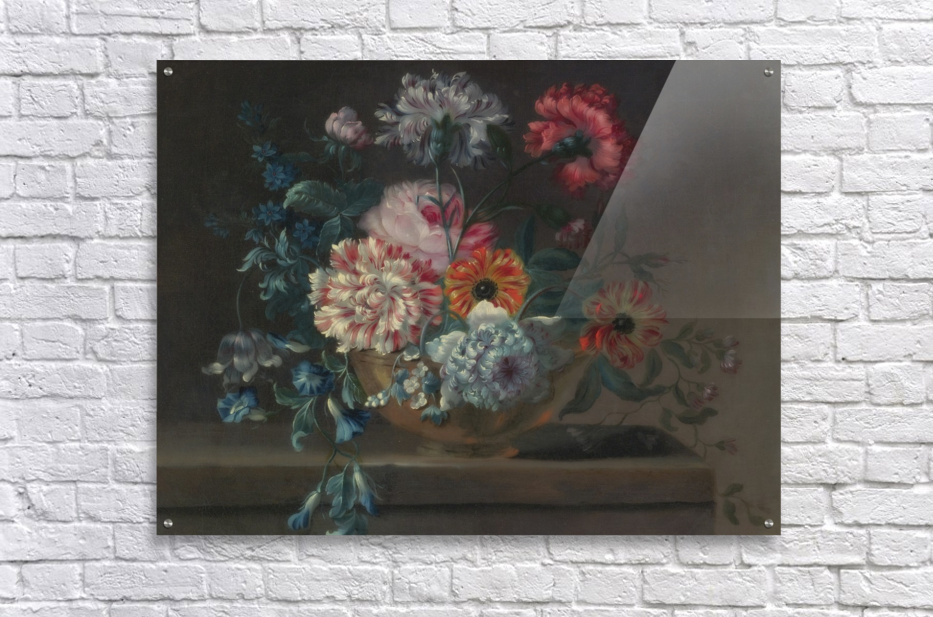 Still life of variegated carnations and other flowers on a ledge  Acrylic Print