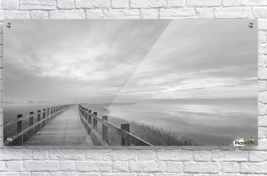 The long wooden footbridge.  Acrylic Print