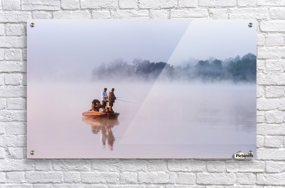 Fishing on Foggy Lake  Acrylic Print