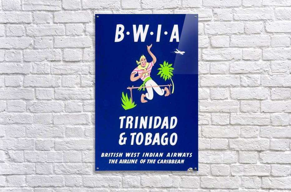 BWIA Trinidad Tobago original travel poster  Acrylic Print