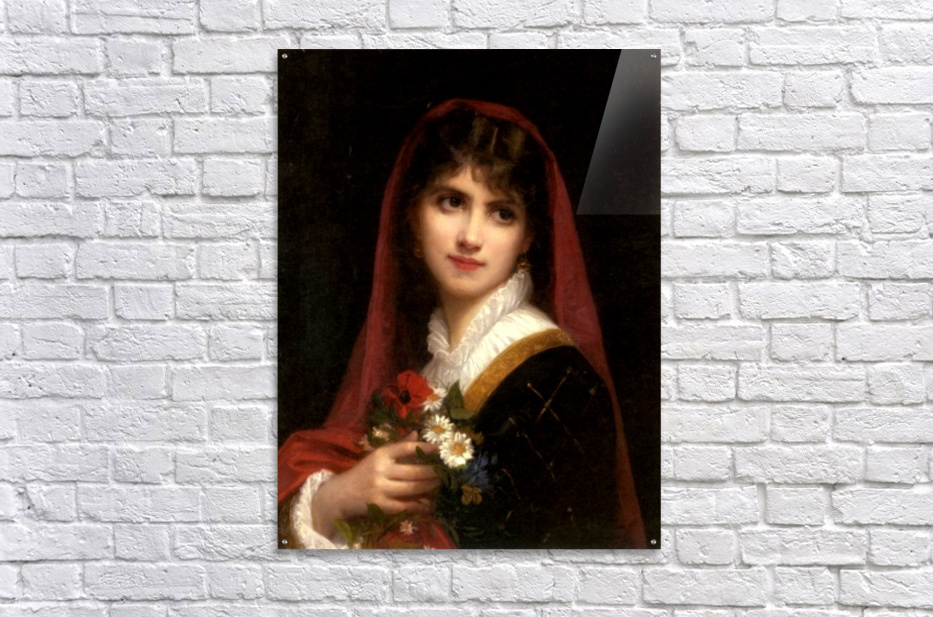A young beauty wearing a red veil  Acrylic Print