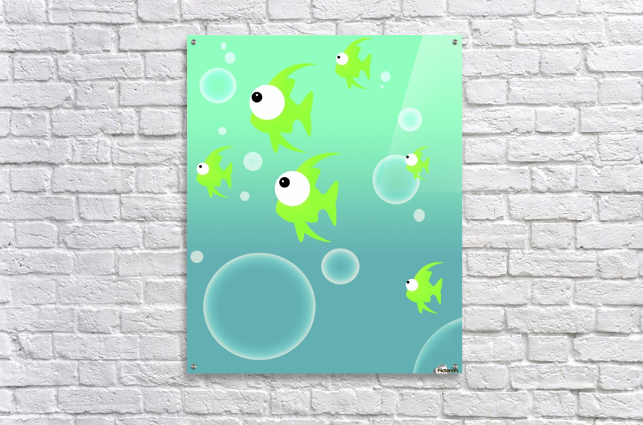 Illustration Of Fish And Bubbles  Acrylic Print